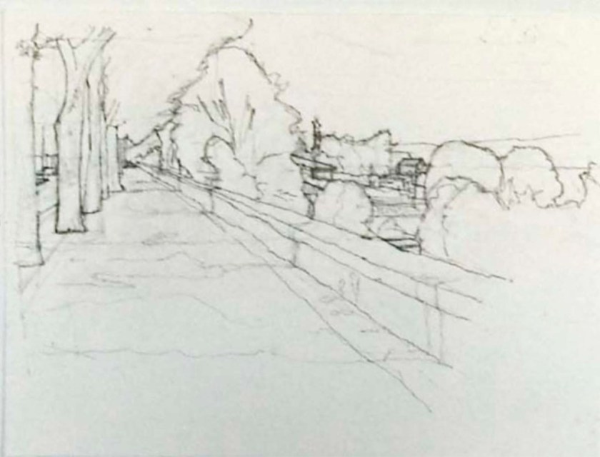 John Hughs drawing of esplanade wall