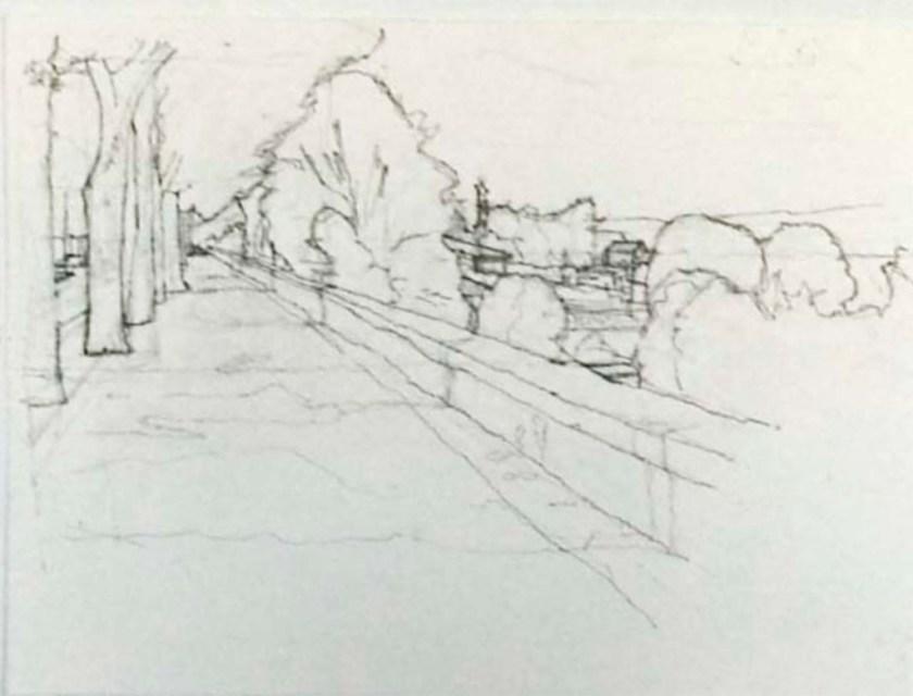 John Hughs drawing of esplanade wall