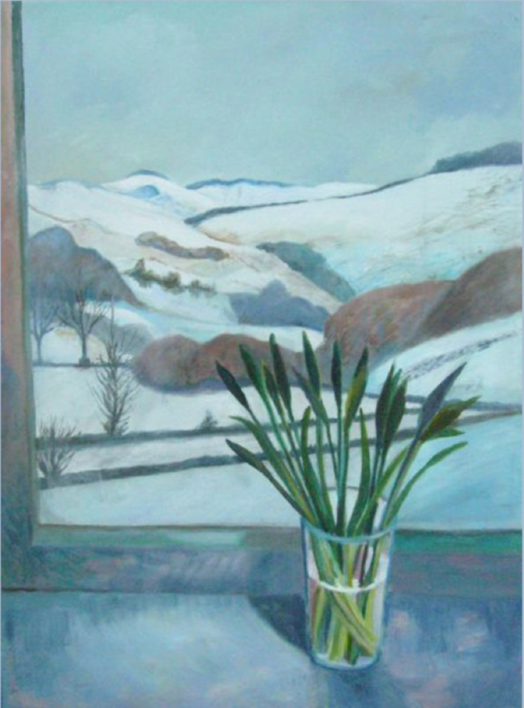 Mary McCarthy snowy landscape theough windown