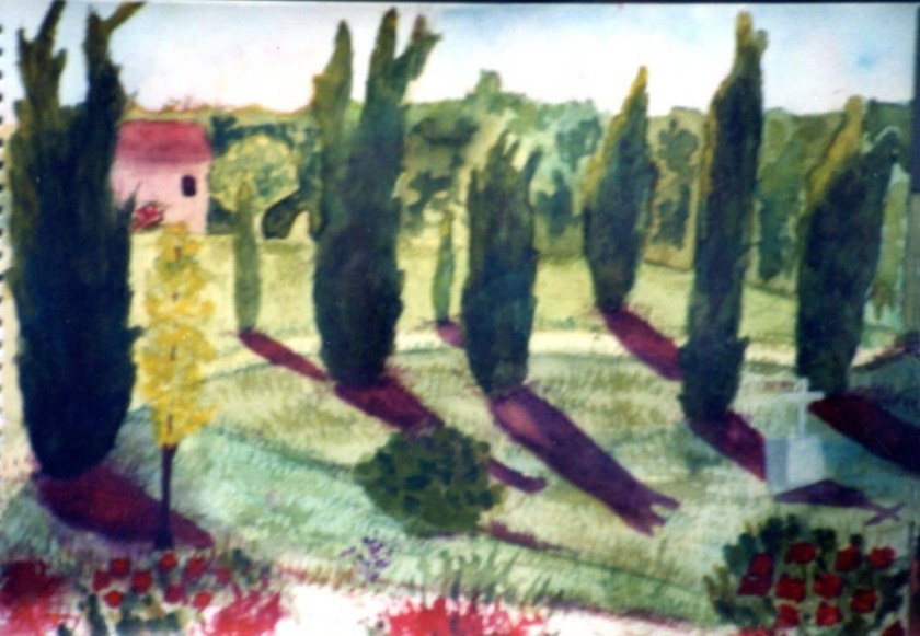 Mary Scott cyprus trees with red shadows