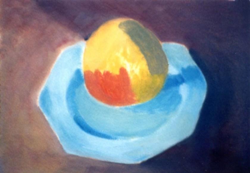 Michel Moureau -apple on blue plate