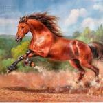 The Running Red Horse Horses Animals Paintings