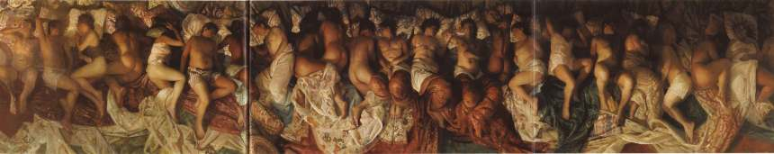 "This is the painting by Vincent Desiderio, titled 'Sleep' that allegedly inspired Kanye West's ""Famous"" music video"