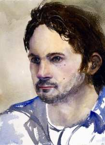 Ashton watercolor painting portrait by Joe Cartwright
