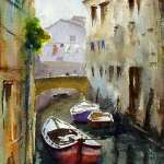 Backstreet venice canal with boats watercolor painting