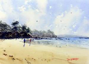 Finished watercolor seascape painting Surf Beach Batemans Bay