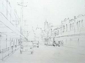 How to draw a street scene prior to watercolor painting. Bridge road Richmond Victoria