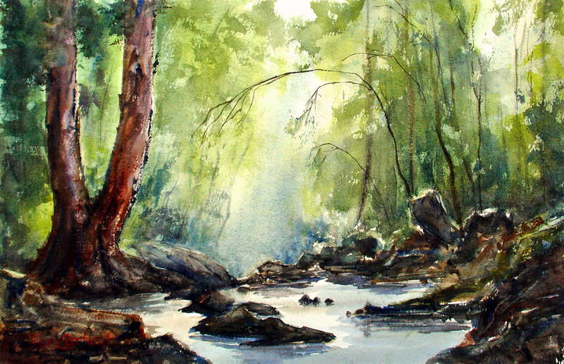 Little Waterfall Near Lennox Bridge Blue Mountains Watercolor Painting