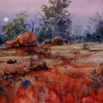 Outback Australia rising moon watercolor painting