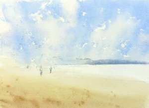 Painting sand with watercolors Surf Beach