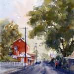 Sofala Main Street watercolor painting. Old red post office building country lane.