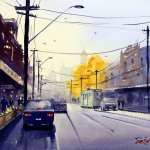 Afternoon Bridge Road Melbourne watercolor painting. Cars, trams, cafes and power lines