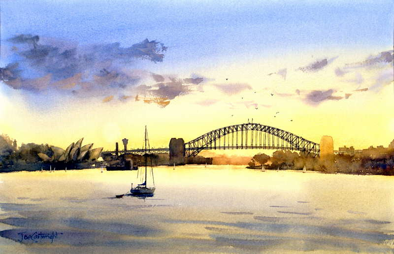 Sydney Harbor Golden Sunset Watercolor Painting Bridge And Opera House With Sailing Boat In