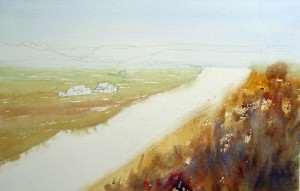 Watercolor landscape under painting for Freemans Reach landscape demonstration