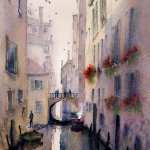 Venice backstreet canal watercolor painting. Colors are browns and greys.