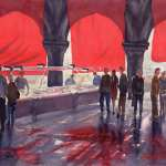 Venice Fish Markets watercolor painting. Bright red awnings are the feature of this artwork.