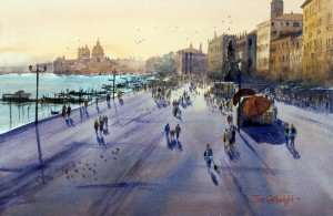 Towards St Marks Plaza Venice watercolor painting