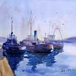 Working boats at Eden NSW watercolor painting. Tugs, research vessels, and fishing boats beside pier.