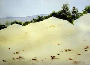 Watercolor painting of sand dunes before shadows