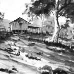 Old shearing shed in pen ink and wash by Joe Cartwright
