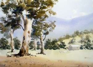 Painting foreground gum trees with watercolors