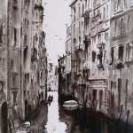 Venice canal in pen and ink. Black and white painting.