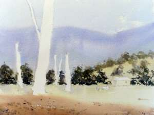 Watercolor Painting Landscape Painting the distant trees