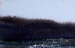 Distant tree line painted with controlled wet on wet brush stroke