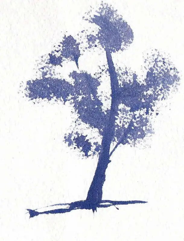 Modified Dry Brush Technique to create tree foliage
