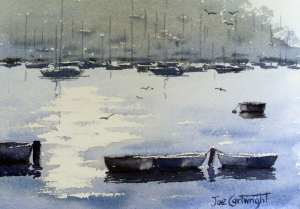 Finished watercolor painting Early Morning, Pittwater, Sydney, Australia
