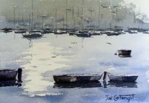 Simple watercolor paintings - boats and water