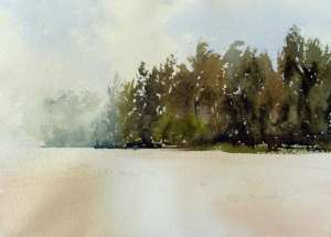 Watercolor painting of middle distance mass of trees with a fan brush along river bank