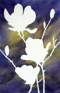 After removing art masking fluid from watercolor painting
