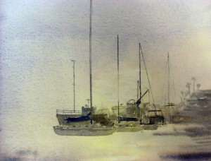 Watercolor painting of boats in San Diego Harbor