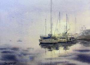 Watercolor painting Rising Mist boat painting by Joe Cartwright