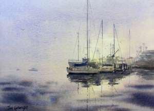 Watercolor painting Rising Mist boat painting by Joe Cartwright