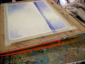 Set watercolor painting easel to a low angle while painting the sand. About 5 degrees.
