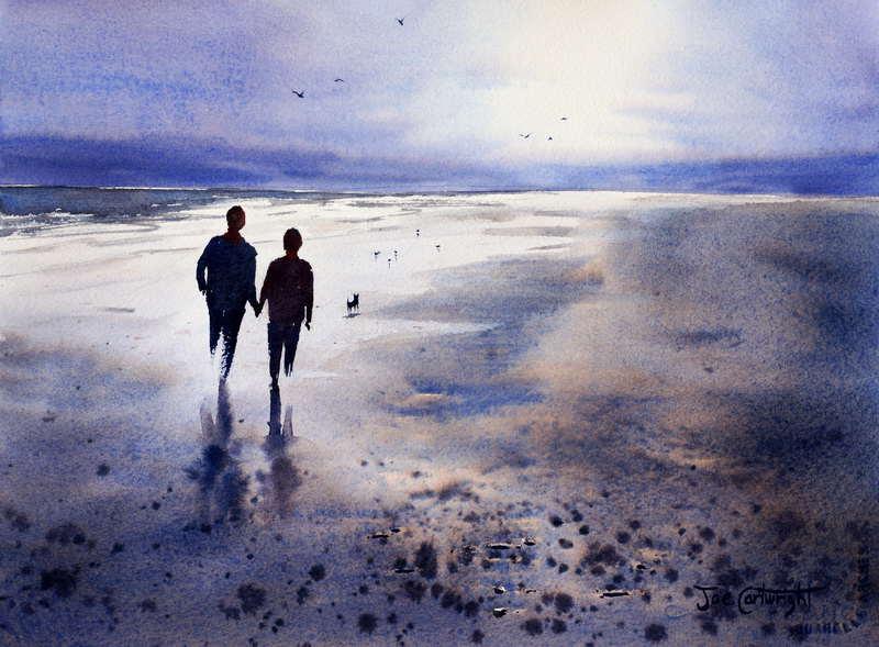 Beach Sunset Watercolor Landscape Painting Demonstration