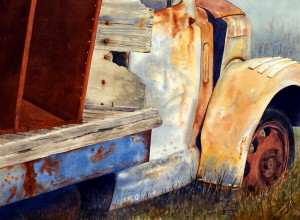 Rusty old truck avoiding common watercolor painting mistakes