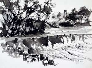 Pen and ink sketch done at Ivanhoe Crossing, Western Australia
