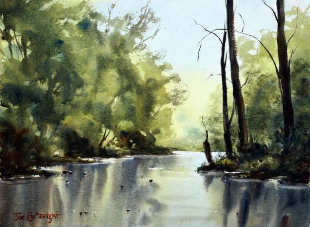 Water color painting: River scene with lots of green and reflections