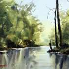 Nepean River shallows reflections watercolor painting by Joe Cartwright