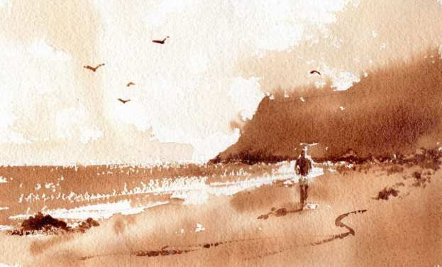 Quick Sketch of simple Beach Scene watercolor painting using instant coffee