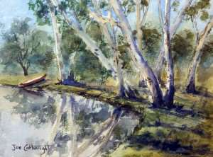 Watercolor painting plein air Lake Kununara reflections gum trees on the shore