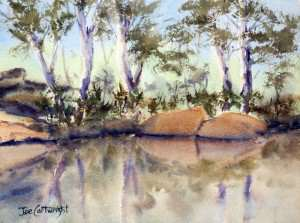 Watercolor painting plein air at Manning Creek by Joe Cartwright