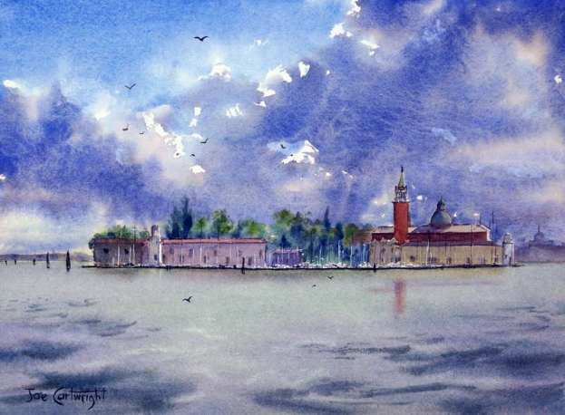 Watercolor painting: Venice Storm Clouds