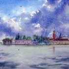 Venice Storm Clouds over San Giorgio Maggiore watercolor painting