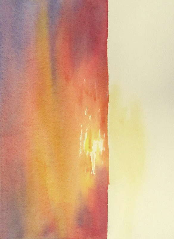 Watercolor Painting Of Warm Red Sky Painting With