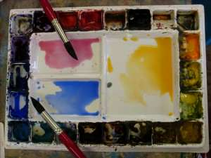 Colors for painting the sky of watercolor landscape