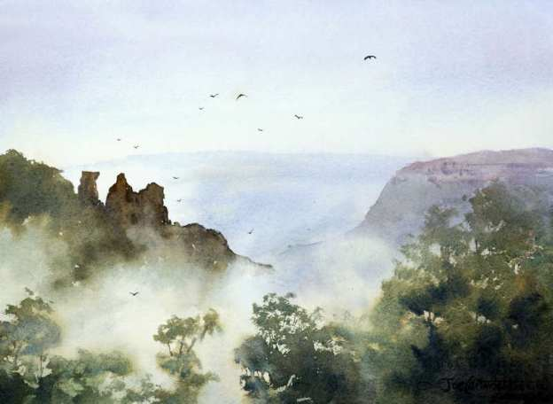 Mist around The Three Sisters, watercolor painting by Joe Cartwright